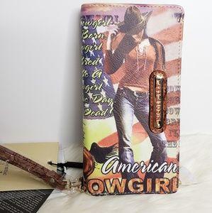 Nicole Lee Wallet Wristlet American Cowgirl Flag